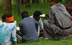 bible sharing in a camp